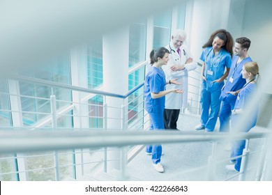 Group of medical students discussing with a dcotor in white uniform