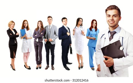Group of medical workers, isolated on white