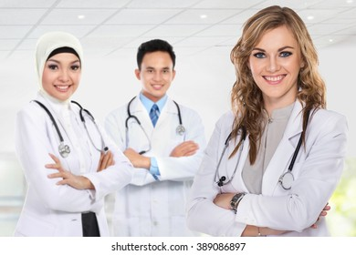 group of medical workers isolated over white background