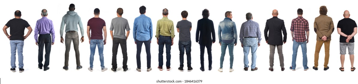 group of men from behind with white background