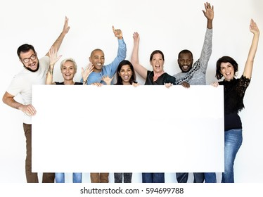 Group of Men and Female Show Present Blank Board
