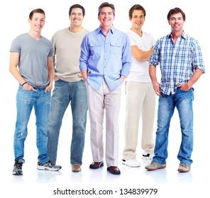 Group of men. Isolated on white background.