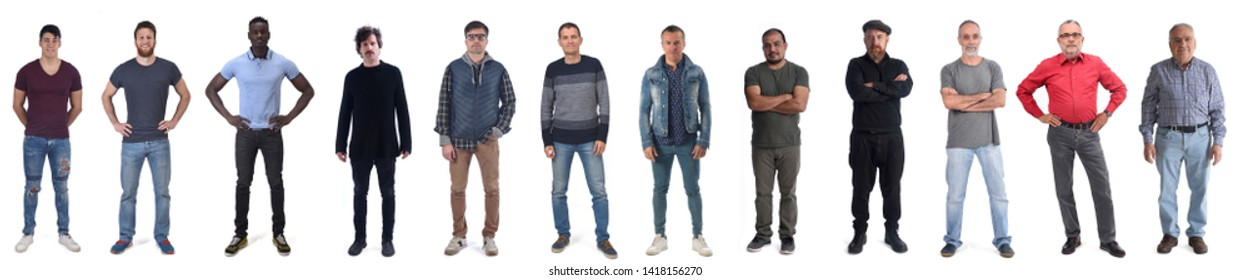 group of men mixed people on white