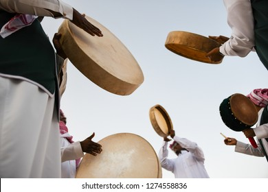 A group of men perform a traditional Saudi Arabian dance and singing in Janadria Festival.