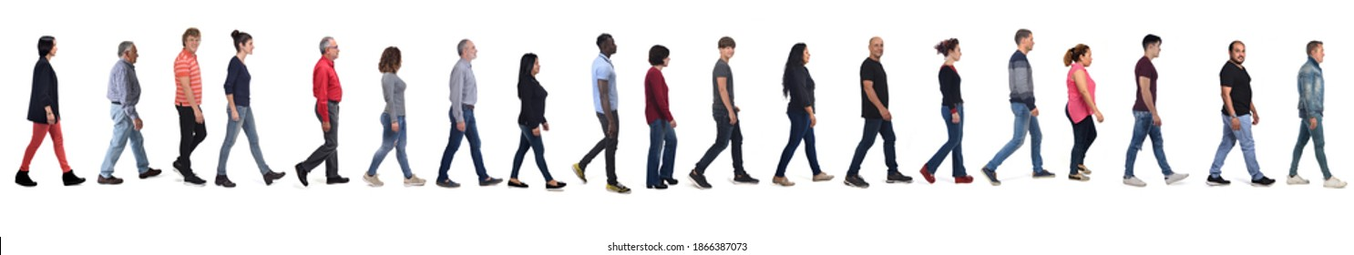 group of men and women wearing blue jeans walking on white background