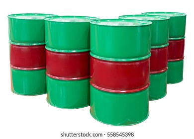 Group Metal barrels isolated on white background with clipping path