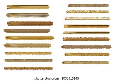 Group of Metalic paint strokes isolated on white.