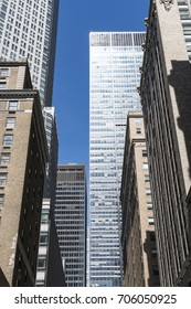 Group of Midtown high-rise buildings along Vanderbilt Avenue at Manhattan New York City Apr. 09 2017.