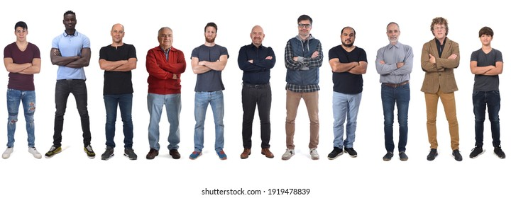 group of mixed people with arms crossed on white background