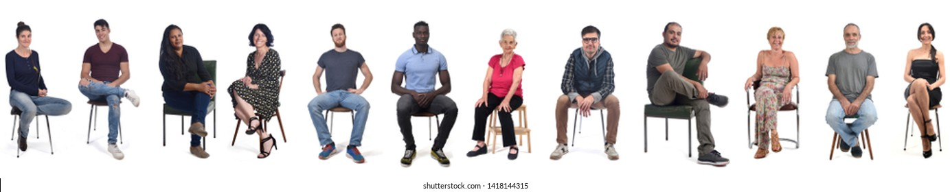 group of mixed people sitting on white