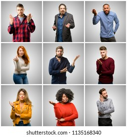 Group of mixed people, women and men irritated and angry expressing negative emotion, annoyed with someone