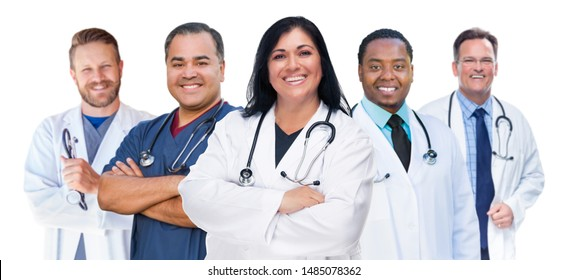 Group of Mixed Race Female and Male Doctors Isolated on White.