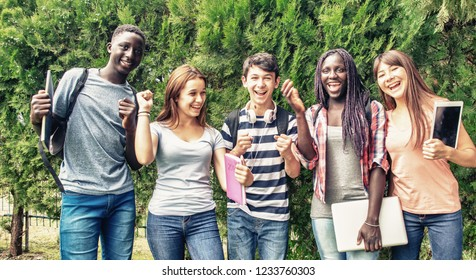 Group of mixed races teenagers happy smiling outdoor in the garden.
