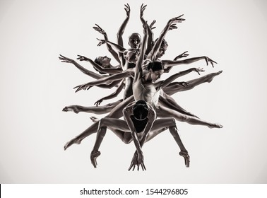 The group of modern ballet dancers like a tree. Contemporary art ballet. Young flexible athletic people in tights. Copyspace. Concept of dance grace, inspiration, creativity. Made of shots of 5 models