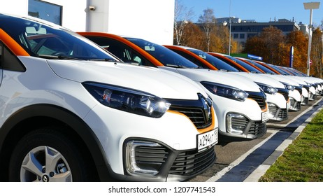 Group of modern car sharing cars. OKT 19, 2018, SAINTS PETERSBURG