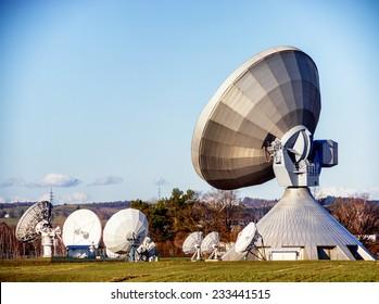 group of modern satellite dishes - radio telescopes