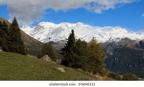 Group of Monte Rosa from the valley Ayas