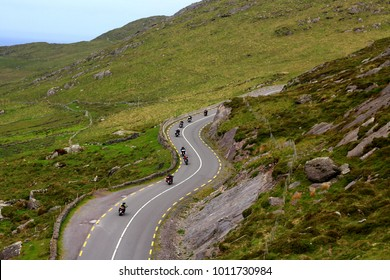Group of motorcycles in Ireland