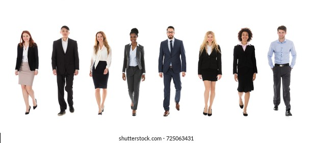 A Group Of Multi Ethnic Business People Walking On White Background