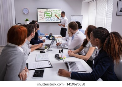 Group Of Multi Ethnic Colleague Looking At Businessman Drawing Mind Map Chart On Screen