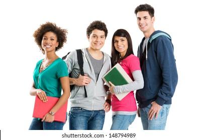 Group Of Multi Ethnic Students Isolated On White Background