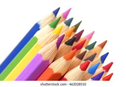Group of multicolor pencils, close-up