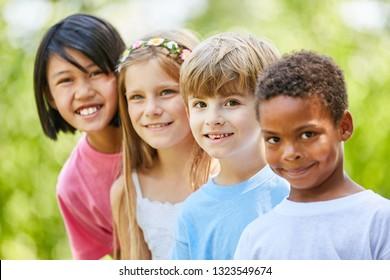 Group of multicultural children as friends in kindergarten or preschool