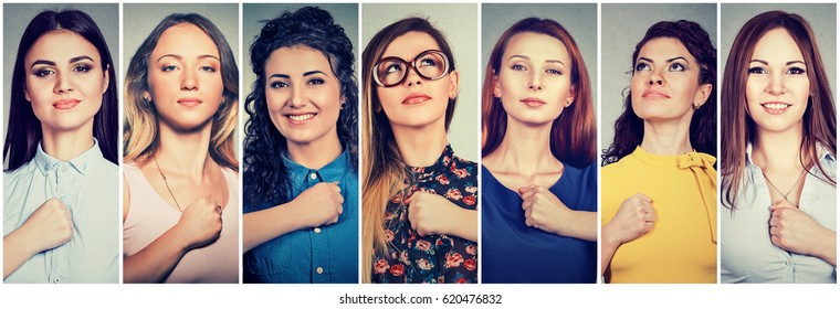 Group of multicultural confident young women determined for a change