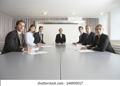 Group of multiethnic business people at conference table