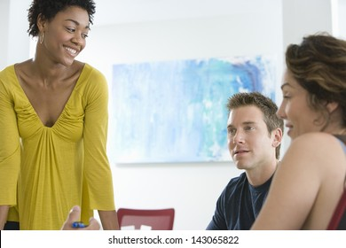 Group of multiethnic business people discussing in conference room