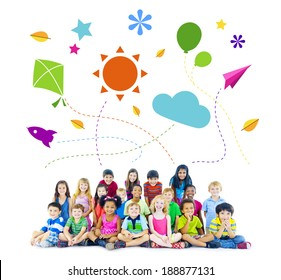 Group of Multiethnic Cheerful Children Childhood Activities