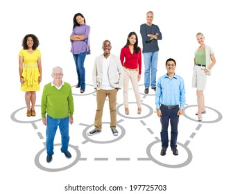 Group of multi-ethnic connected smart casual people.
