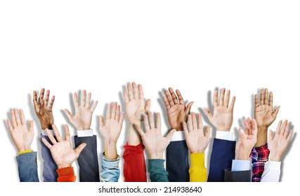 Group of Multiethnic Diverse Colorful Hands Raised