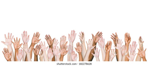 Group of Multi-ethnic and Diverse Hands Raised