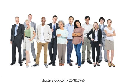 Group of multi-ethnic and diverse occupational people in a white background.
