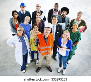 Group of Multiethnic Diverse People with Different Jobs Concept
