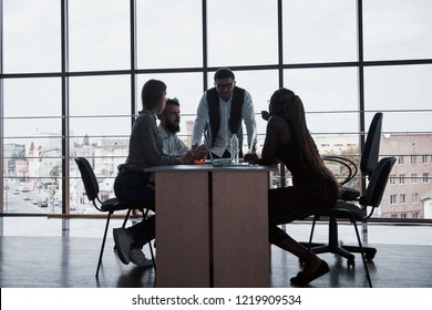 A group of multinational busy people working in the office.