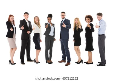 Group Of Multiracial Businesspeople Gesturing Thumbs Up On White Background