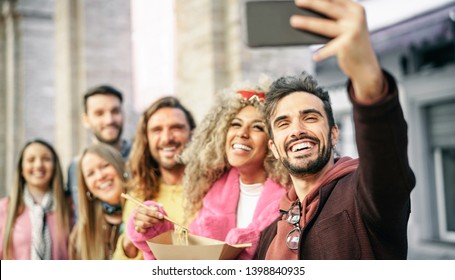 252108b2c9071 Group of multiracial friends eating Asian street food and taking selfie  outdoor - Young trendy people