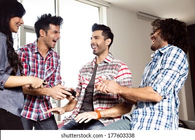 a group of  multiracial friends hanging out and having fun