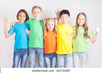 Group of multiracial funny children. World Conference for Well-being of Children in Geneva, Switzerland, at June 1 to be International Children's Day. Universal Children's Day, falls on 20 November.