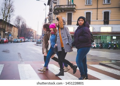 group of multiracial women crossing the street – excursion, relationship, cheerful
