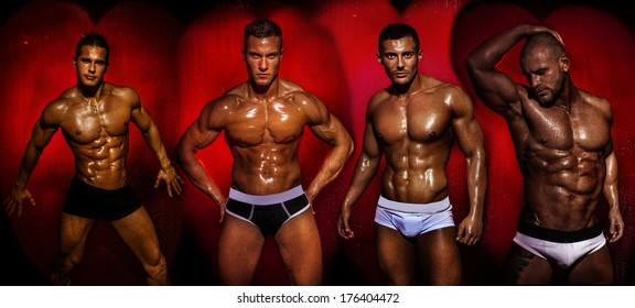 Group of muscular young sexy wet naked handsome man posing. Valentine's day.