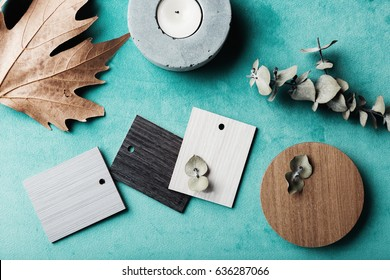 Group of muted wood and laminate swatches flat lay