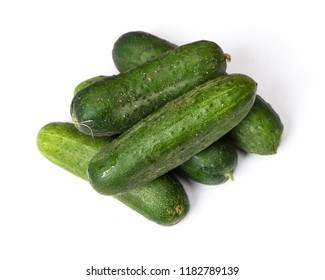 Group of natural cucumbers isolated on white background