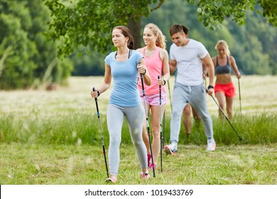 Group in the nature nordic walking in their leisure time