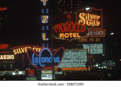 A group of neon signs as you enter Las Vegas