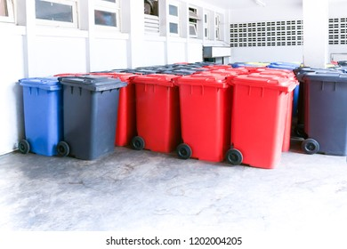 Group of new large colorful wheelie bins for rubbish, recycling waste,Large trash cans (garbage bins)