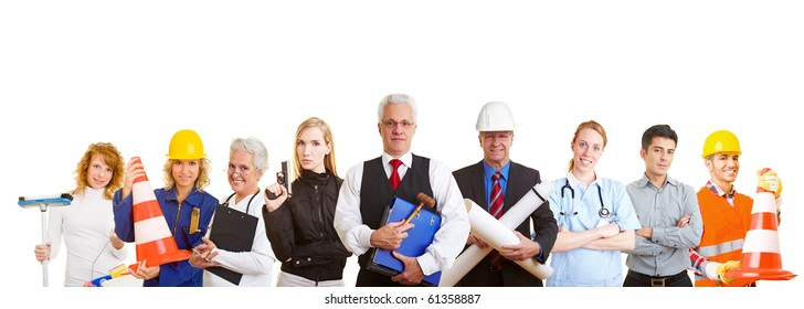 Group of nine happy business people with different occupations