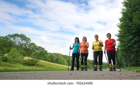 a Group of nordic Walking woman in nature